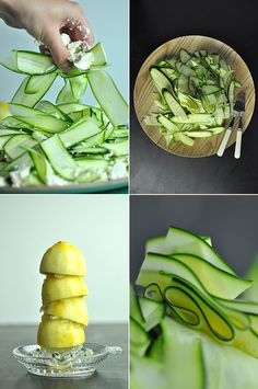 Courgette, lemon and feta salad Food Tips, Food Hacks, Zucchini, Lunch Catering, Feta Salat, Avocado Toast, Yum Yum, Salads, Good Food