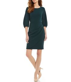 1d8939728737 Donna Morgan Long Sleeve Crepe Faux Wrap Dress Work Dresses For Women
