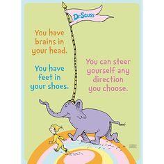 """""""Oh the Places You Will Go"""" Kid & Elephant Poster :: School begins tomorrow! Summer break seemed to zip by in a flash. 9/2/14"""