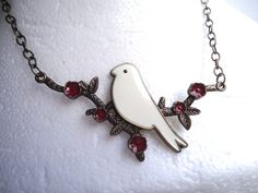 Bronze Tone White Bird Necklace by GrannysInspirations on Etsy