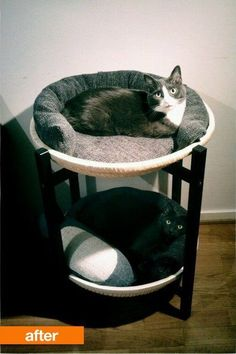 Before & After: Ikea Tray Table To Double-decker Cat Bed