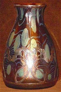 Art Nouveau Loetz Vase Silver Overlay!!!!!!!