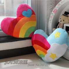 Details about Soft Stuffed Plush Cushion Nap Rainbow Love Throw Lovely Heart Pillow Toys Hot Soft Stuffed Plush Cushion Nap Rainbow Love Throw Lovely Heart Pillow Toys Hot. Cute Pillows, Baby Pillows, Kids Pillows, Throw Pillows, Heart Pillow, Heart Cushion, Blue Birthday, Sewing Pillows, Plush Dolls