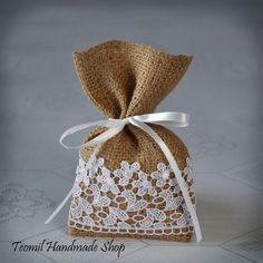 burlap guest bags | Candy Favor Bag, Wedding Burlap Gift Bag, Guest Favor Bag, - SET OF 25