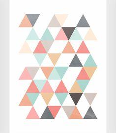 Poster triangulos Poster moderno Arte moderno por ShopTempsModernes