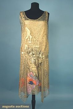 Vintage Clothing : Gold Lace & Lame Party Dress, 1920s