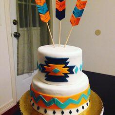 #Tribal #Aztec #Cake with #Chevron #Arrow #Fondant design #SomethingSweetTX #babyshower #itsaboy Western Birthday Cakes, Western Cakes, Novelty Birthday Cakes, My Birthday Cake, Baby First Birthday, Boy Birthday Parties, Birthday Ideas, Baby Shower Cakes For Boys, Baby Boy Shower