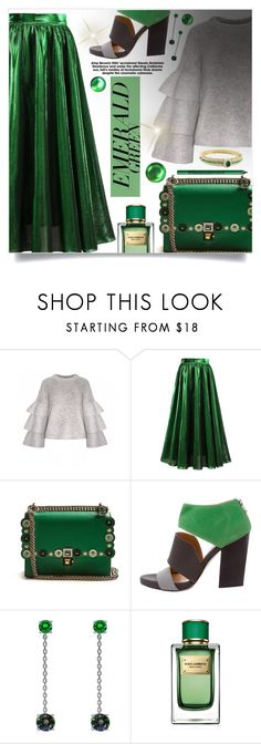 """""""Emerald City: Pops of Green"""" by beautifulplace ❤ liked on Polyvore featuring Fendi, VPL, Dolce&Gabbana, NYX, Van Cleef & Arpels and emeraldgreen"""