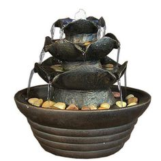Three Tier Cascading Tabletop Fountain with LED Lights