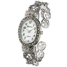 Geneva Platinum - Reloj de mujer con esfera ovalada y marcasita