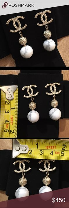 Auth Chanel 2016 CC Pearl Marble Dangle Earrings Pristine preloved condition. Comes with box only. Misplaced dust cover. 100% GUARANTEED AUTHENTIC. PHOTOS ARE TAKEN OF THE EXACT SAME ITEM YOU WILL RECEIVE! WHAT YOU SEE IS WHAT YOU GET*** PLEASE VISIT OUR WEBSITE AT WWW.AUTHENTICLUXURIESTW.COM or email me at authenticluxuries11@gmail.com for more detailed photos =). CHANEL Jewelry Earrings