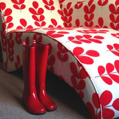 Red Wellington boots and my chaise - two of my favorite things ❤
