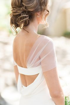 Detachable Illusion Sleeves -from who else but Vera Wang! See more of the dress & wedding on SMP here: http://www.StyleMePretty.com/california-weddings/carmel/2016/03/19/rustic-carmel-valley-ranch-wedding/ Photography : Carlie Statsky