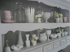 Milk Glass Collection Snapshot, A variety of texturesmakes a great display.~ Mary Walds Place - Lilies for Kate: more milk glass & time for a clean out!
