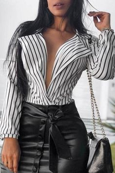 Casual Women Long Sleeve Striped Tops Shirt Autumn Ladies Turn Down Collar Deep-V Neck Tops Blouse Vintage Sexy Elegant Shirt Brand Name: hiriginModel Number: women blouseMaterial: PolyesterStyle: CasualDecoration: NONEFabric Type: BroadclothSleeve Lengt Womens Fashion Casual Summer, Style Casual, Costume, Ladies Dress Design, Pulls, Types Of Fashion Styles, Blouses For Women, Long Sleeve Shirts, Ideias Fashion