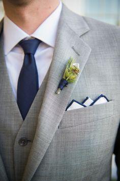 Grey, white and navy are the perfect nautical groom attire: http://www.stylemepretty.com/little-black-book-blog/2014/11/18/nautical-ocean-house-wedding/   Photography: Carla Ten Eyck - http://carlateneyck.com/