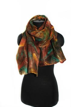Photos of my felted scarves made during 2014-2016