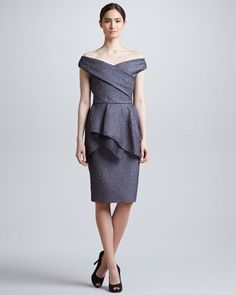 Off-the-Shoulder Flounce Dress, Charcoal by Lela Rose at Neiman Marcus.