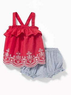 Old Navy Embroidered Ruffle Tank & Oxford Bloomers Set for Baby