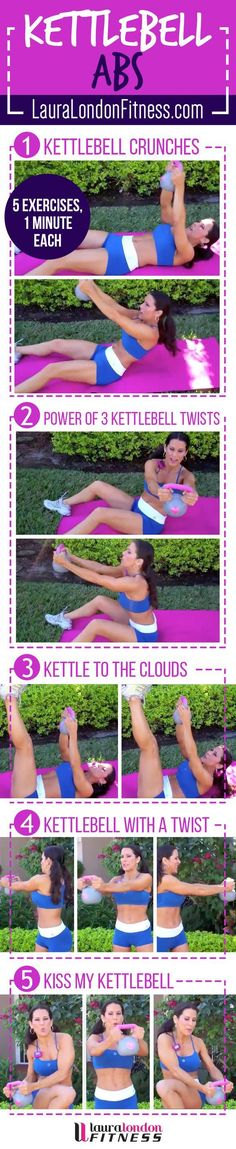 15 Minute toning Ab Kettlebell workout with Laura London. 5 moves each done for one minute to tighten, tone and work the core from the inside out. Make sure you don't miss the KISS MY KETTLEBELL exercise Watch The Video Here:  https://www.youtube.com/watch?v=5VId4pwupuw