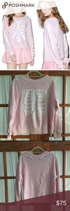 """Wildfox Skeleton Pink Sweater This is the """"Inside Out Sweater"""" from Wildfox. Super cute and cozy! Wildfox Sweaters Crew & Scoop Necks"""