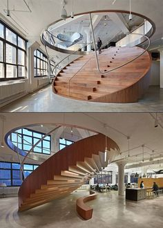 Wide stairs, a circle in cross section. The design makes it look like you can fold up the stairs. Pure architecture Start Paying Attention To The Design of The Office - The Cool Hunter Nicole Sara Houses Wide stairs, a circle in cross sec Stairs Architecture, Amazing Architecture, Interior Architecture, Amphitheatre Architecture, Architecture Drawing Plan, Design Exterior, Home Interior Design, Interior Decorating, Modern Interior