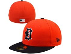 2c692113368 Custom Detroit Tigers 2-Tone Orange-Navy Blue 59Fifty Fitted Baseball Cap  by NEW ERA x MLB