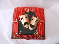 Comedy and Tragedy Theatre Cake - by hellobabycakes @ CakesDecor.com - cake decorating website