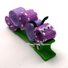 Purple Caterpillar Ribbon Sculpture Hair Clip FREE by Magnificence, $3.50