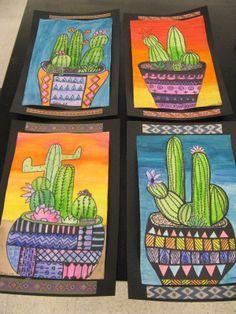 Kunst in der Grundschule: Kakteen