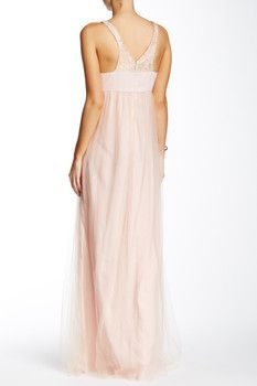BCBGeneration Sleeveless V-Neck Tulle Lace Gown