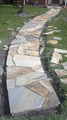 garten pflaster Progress shot: transforming a poured concrete walkway into something special (still needs to be mortared and grouted) Backyard Walkway, Flagstone Walkway, Outdoor Walkway, Front Walkway, Front Yard Landscaping, Pavers Patio, Covered Walkway, Cement Patio, Brick Pavers