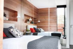 Get the look: Last night's Block guest bedroom reveals - The Interiors Addict Home Bedroom, Master Bedroom, Bedroom Decor, Bedrooms, Modern Bedroom, Timber Feature Wall, Kyal And Kara, Hanging Rail, Suites