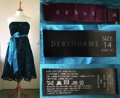 61e3b942 2010's DEBUT Designers at Debenhams Teal Satin Black Lace Overlay Cocktail  Prom Evening Party Dress Size
