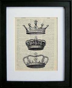 Crowns printed on a page from an antique by LePapierGallery