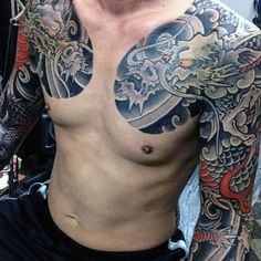 Looking for the best dragon tattoos? Dragon tattoo designs are very powerful symbols, especially within Asian culture. While in the Western world, the dragon tattoo can represent evil, danger and…View Dragon Tattoo Chest, Dragon Tattoos For Men, Japanese Dragon Tattoos, Tattoos For Guys, Japanese Tattoos For Men, Traditional Japanese Tattoos, Japanese Tattoo Designs, Japanese Sleeve Tattoos, Tribal Tattoo Designs