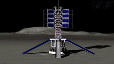 The lunar lifter and ramps for small rovers deployed at the docking port of the proposed ...