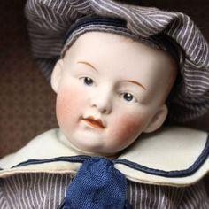 HEUBACH DOLL SAILOR BOY1915s CLOSED MOUTH IN ORIGINAL BOX ANCIEN POUPÉE MARINE