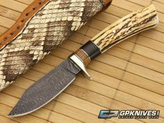 Burr Oak Clip Point Twisted Damascus & Sambar Stag