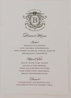 Monogrammed menus
