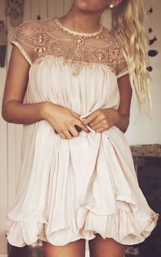 Gold flower handcrafted dress --- would be a super cute cocktail dress