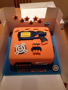 My sons 5th birthday nerf cake