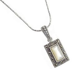 New Sterling Silver Mother of Pearl Marcasite Halo Pendant Chain Necklace NWOT