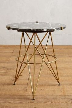 Betelline Side Table have in nice gray wood / gold tone 24 h x 22 w 299 Furniture Sale, Unique Furniture, Dining Furniture, Furniture Design, Furniture Ideas, Unique Coffee Table, Coffee Table Design, Coffee Tables, Marble Top Side Table