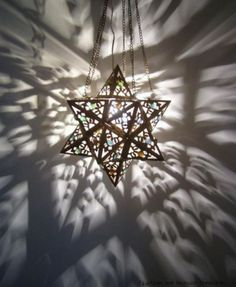 Middle Eastern Moroccan Brass Hanging Star Lamp Lantern ~ we could create a multitude of faux stained glass lamps