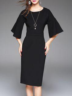 Shop Midi Dresses - Cotton-blend Crew Neck Elegant Solid Frill Sleeve Midi Dress online. Discover unique designers fashion at StyleWe.com.