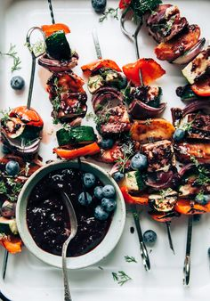 SUMMER VEG & TOFU SKEWERS WITH BLUEBERRY BARBECUE SAUCE
