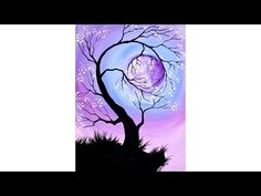 Lullaby Moon Beginners learn to paint full acrylic art lesson. Learn to create detailed lines for branches with this Tree Holding a Pink ...