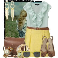 love the blouse and skirt colors with the brown accesories