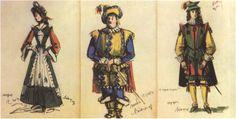 186. «Двенадцатая ночь» А.Г. Тышлер. Эскизы костюмов. Мария, сэр Тоби, Герцог. 1951